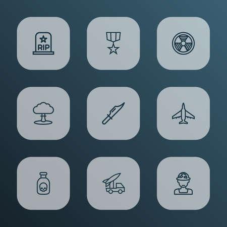 Battle Outline Icons Set. Illustration