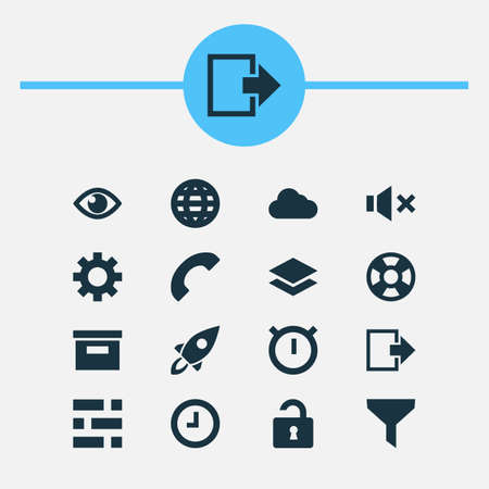 User Icons Set. Collection Of Base, Lifebuoy, Silence And Other Elements. Also Includes Symbols Such As Rocket, Startup, Mute. Illustration