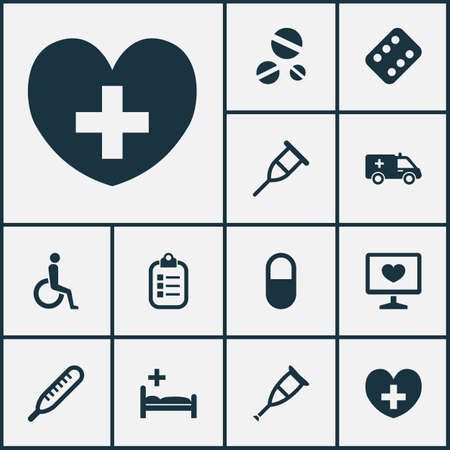 polyclinic: Medicine Icons Set. Collection Of Handicapped, Stand, Mercury Elements. Also Includes Symbols Such As First-Aid, Polyclinic, Diagnostics. Illustration