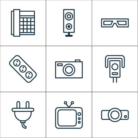 Hardware Icons Set. Collection Of Extension Cord, Cctv, Socket And Other Elements. Also Includes Symbols Such As Phone, Television, Spectacles.
