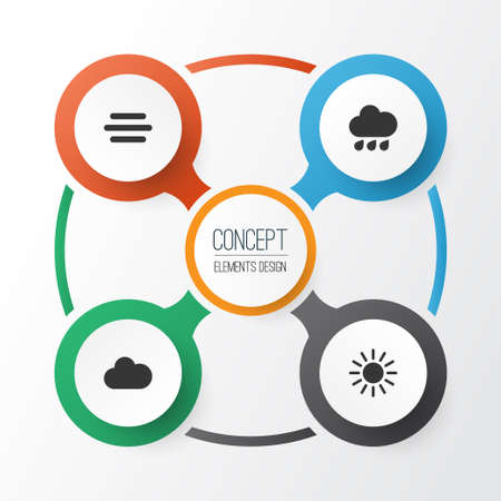 Weather Icons Set Collection Of Haze Sun Cloudy And Other