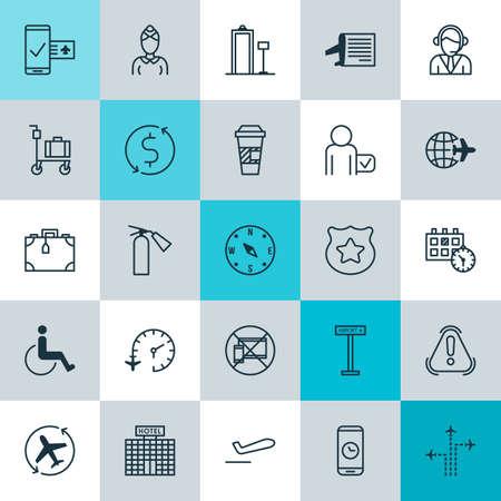 Conjunto de iconos de viaje. Colección de citas, maletas, objetos y otros elementos. También incluye símbolos como el dólar, brújula, mapa. Ilustración de vector