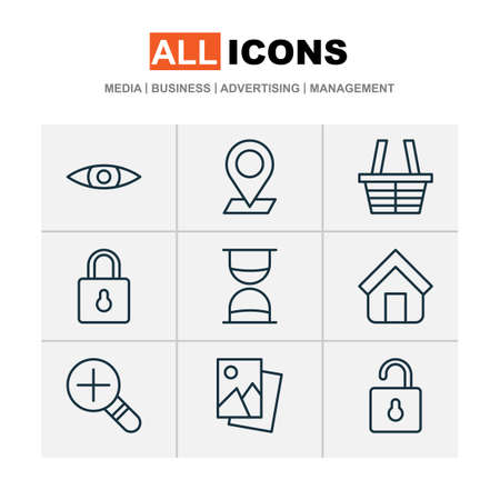 Network Icons Set. Collection Of Estate, Unlock, Glance And Other Elements
