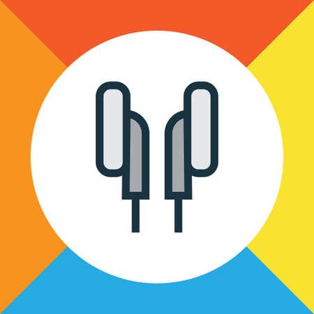 Earphones Colorful Outline Symbol. Premium Quality Isolated Headphones Element In Trendy Style.
