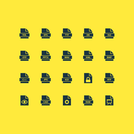 wav: Document Icons Set. Collection Of Backup, Ico, Xml And Other Elements. Also Includes Symbols Such As Configuration, Presentation, Database.