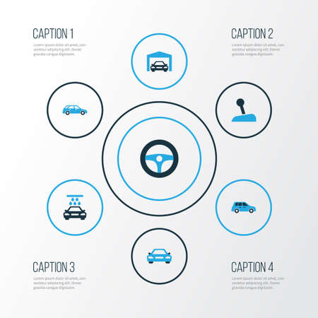 car wash: Car Colorful Icons Set. Collection Of Garage, Steering Wheel, Car And Other Elements Illustration