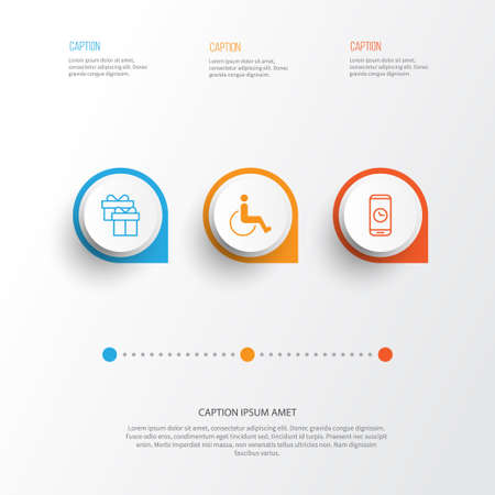 Airport Icons Set. Collection Of Call Duration, Accessibility, Present And Other Elements Illustration