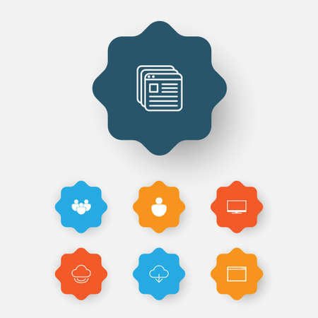 wap: Internet Icons Set. Collection Of Storage, Display, Download And Other Elements