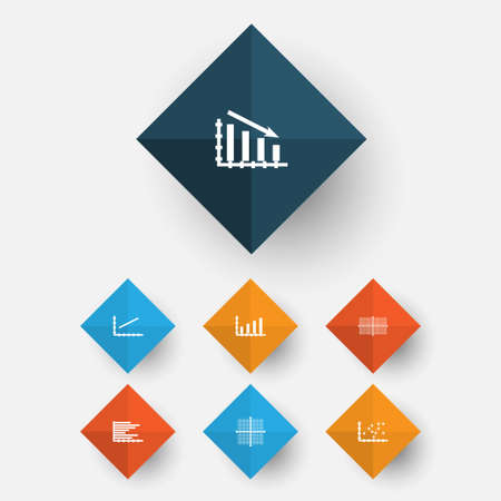 Set Of Graphs, Diagrams And Statistics Icons. Premium Quality Symbol Collection Illustration