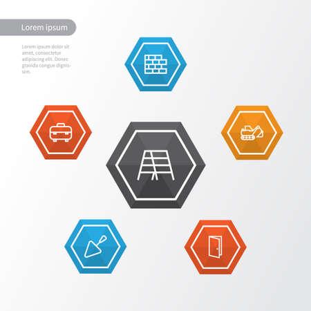 Construction Outline Icons Set.