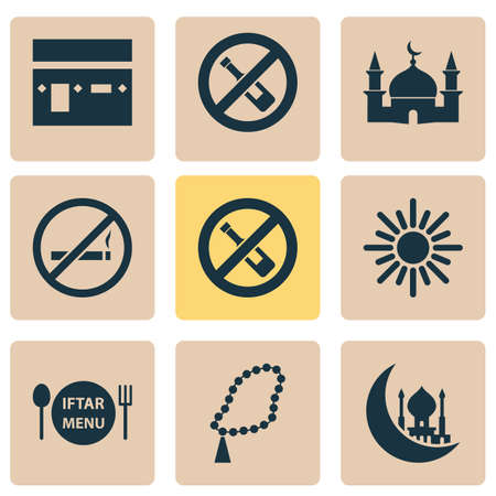 Religion Icons Set. Collection Of Dishes, Beads, No Alcohol And Other Elements Illustration