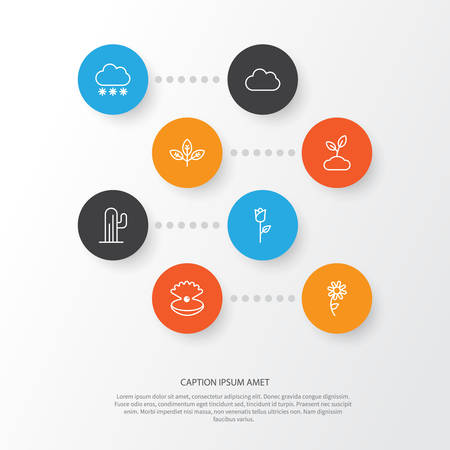 love cloud: Landscape Icons Set. Collection Of Cloud, Plant, Love Flower And Other Elements