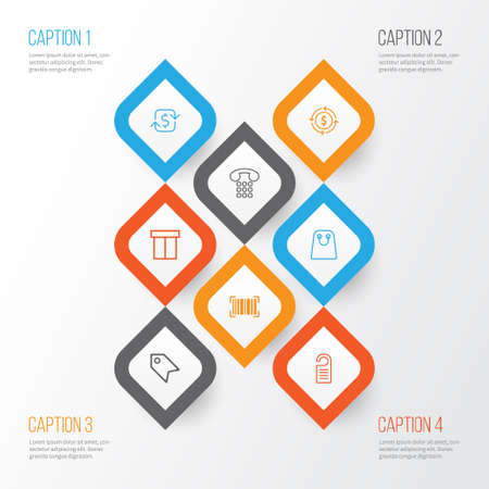 E-Commerce Icons Set. Collection Of Recurring Payements, Callcentre, Price Stamp And Other Elements Illustration