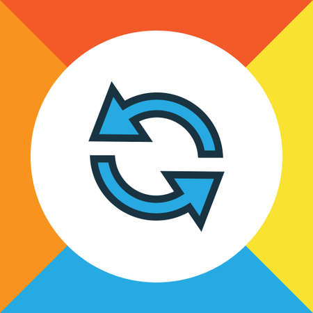 repeatability: Premium Quality Isolated Synchronize Element In Trendy Style.  Sync Colorful Outline Symbol.
