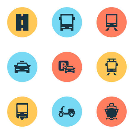 Shipment Icons Set. Collection Of Streetcar, Skooter, Way And Other Elements