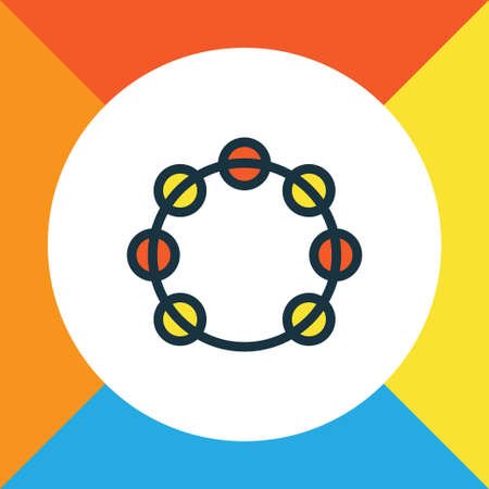Timbrel Colorful Outline Symbol. Premium Quality Isolated Tambourine Element In Trendy Style. Illustration