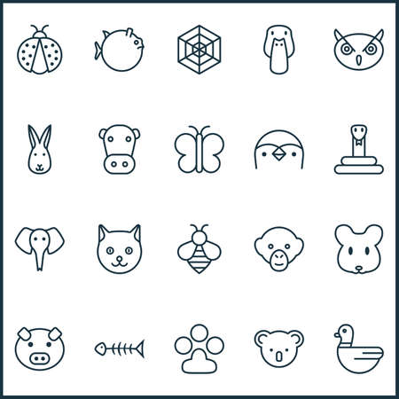 ladybug: Nature Icons Set. Collection Of Bunny, Goose, Cobweb And Other Elements