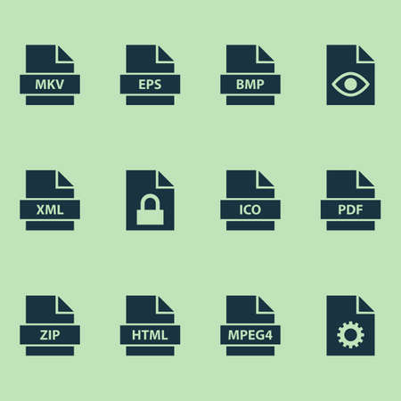 Types Icons Set. Collection Of Protection, Configuration, Xml And Other Elements Illustration
