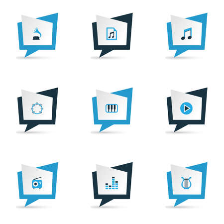 audio mixer: Music Colorful Icons Set. Collection Of Mixer, Playlist, Tambourine And Other Elements. Also Includes Symbols Such As Note, Piano, Phonograph. Stock Photo