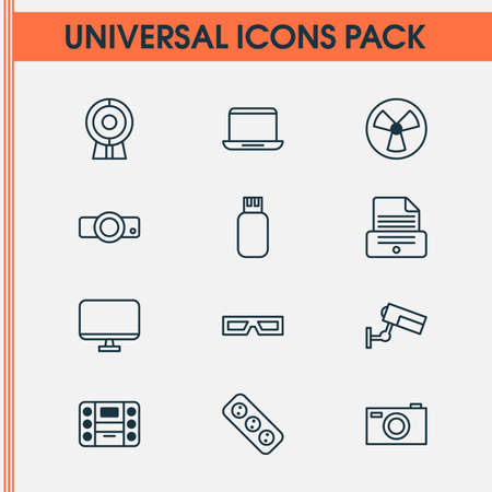 Gadget Icons Set. Collection Of Monitor, Printer, Surveillance And Other Elements. Also Includes Symbols Such As Monitor, Usb, 3D.