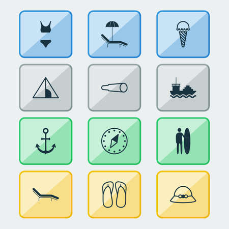 Travel Icons Set. Collection Of Frozen Food, Bathing Costume, Camping House And Other Elements