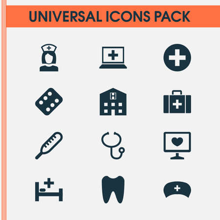 Antibiotic Icons Set. Collection Of Retreat, Cap, Diagnosis And Other Elements