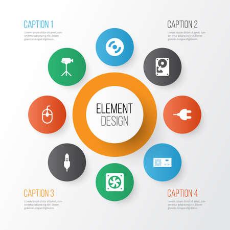 Set di icone hardware. Raccolta di videocamera, connettore, Hdd e altri elementi