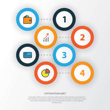 Trade Colorful Outline Icons Set. Collection Of Financial Profit, Circle Stats, Purse And Other Elements Illustration