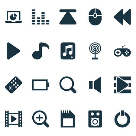 multimedia icons: Media Icons Set. Collection Of Quaver, Silence, Backward And Other Elements. Also Includes Symbols Such As List, Mixer, Song.