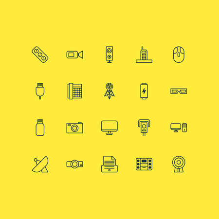 device: Device Icons Set. Collection Of Extension Cord, Usb, Personal Computer And Other Elements. Also Includes Symbols Such As Cursor, 3D, Usb. Illustration