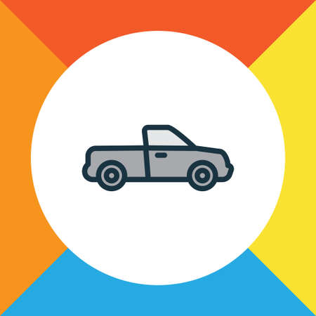 Pickup Colorful Outline Symbol. Premium Quality Isolated Auto Element In Trendy Style. Illustration