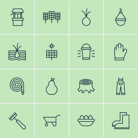 collect: Garden Icons Set. Collection Of Garlic, Duchess, Hanger And Other Elements Illustration