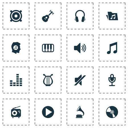 royal person: Audio Icons Set. Collection Of Sound, Start, Earphone And Other Elements