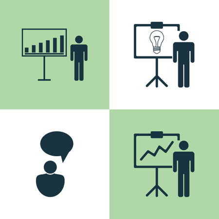 opinion: Management Icons Set. Collection Of Special Demonstration, Opinion Analysis, Project Presentation And Other Elements Illustration