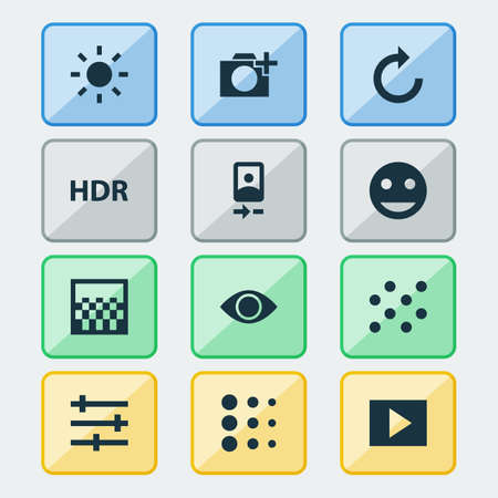 repeatability: Picture Icons Set. Collection Of Reload, Shine, Chessboard And Other Elements. Also Includes Symbols Such As Camera, Front, Reload.