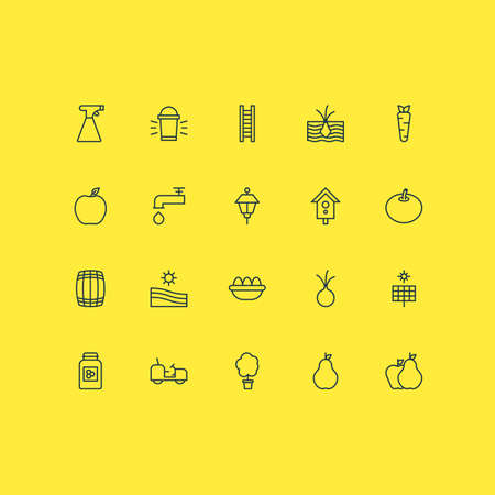 Garden Icons Set. Collection Of Lantern, Nectarine, Stairway And Other Elements