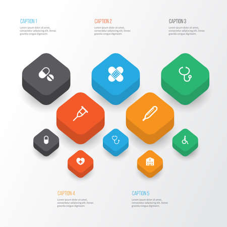 Drug Icons Set. Collection Of Device, Pellet, Retreat And Other Elements Illustration