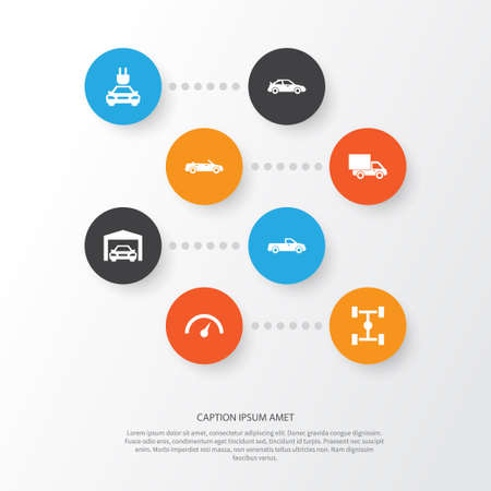 Automobile Icons Set. Collection Of Plug, Repairing, Chronometer And Other Elements