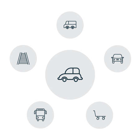 education concept: Transport Icons Set. Collection Of Cargo Cart, Automobile, Railroad And Other Elements Illustration