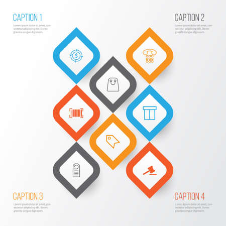 Ecommerce Icons Set, Collection Of Gavel, Price, Finance And Other Elements