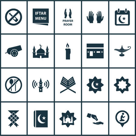 Religion Icons Set. Collection Of Koran, Holy Book, Octagonal Star And Other Elements Illustration