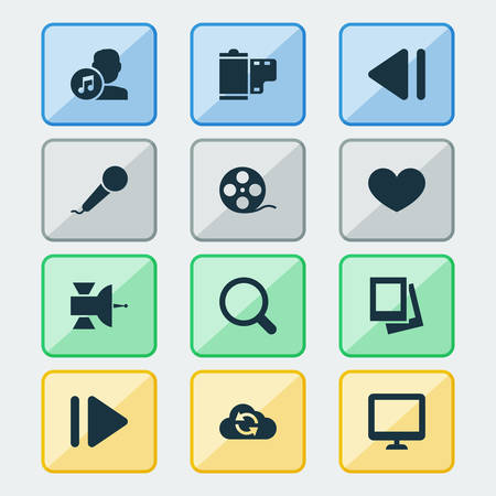 melodist: Media Icons Set. Collection Of Heart, Cloud, Previous And Other Elements. Also Includes Symbols Such As Slow, Screen, Filmstrip.