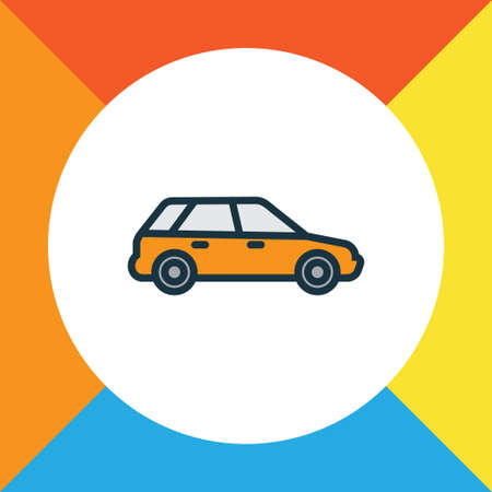 Premium Quality Isolated Machine  Element In Trendy Style.  Station Wagon Colorful Outline Symbol. Illustration
