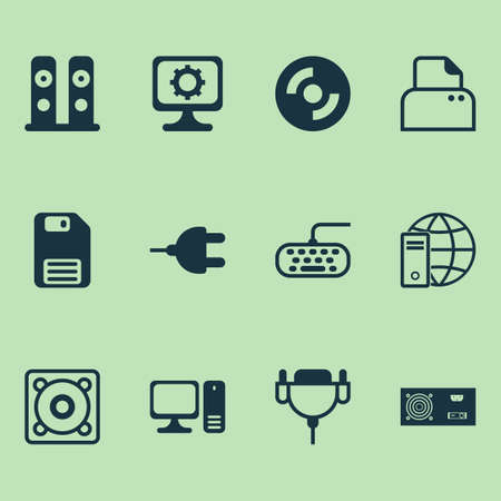 Computer Icons Set. Collection Of Computer Keypad, Vga Cord, PC And Other Elements