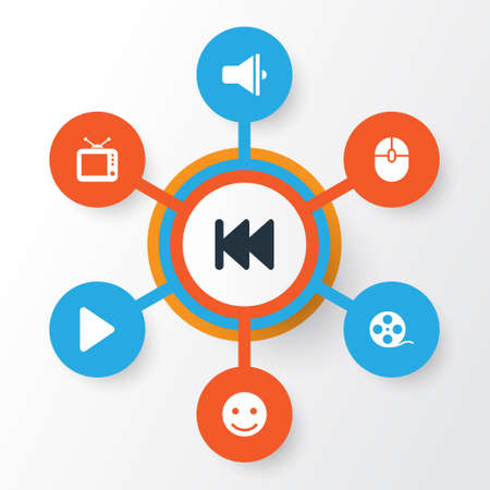 Multimedia Icons Set. Collection Of Rewind, Smile, Filmstrip And Other Elements