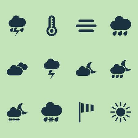 気候のアイコンを設定します。ヘイズ、雷、夜、その他の要素のコレクションです。また雲、光、太陽などのシンボルが含まれています。