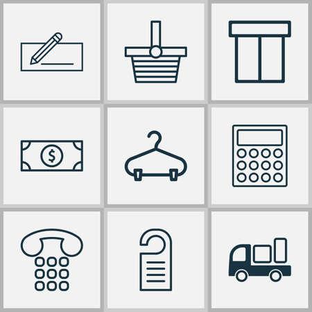 A commerce icons set on white background. Illustration