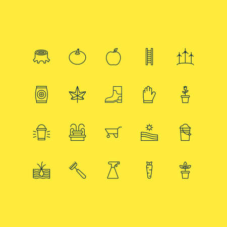 Farm Icons Set. Collection Of Protection Mitt, Water Monument, Windmill And Other Elements Illustration