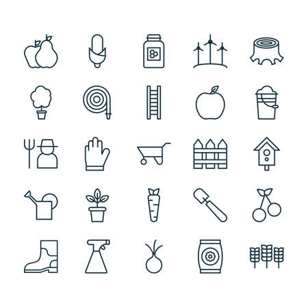 Farm Icons Set. Collection Of Barrier, Fire Tube, Wheelbarrow And Other Elements