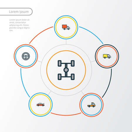 chassis: Automobile Colorful Outline Icons Set.